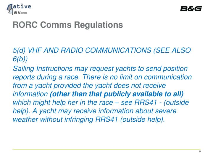 RORC Comms Regulations