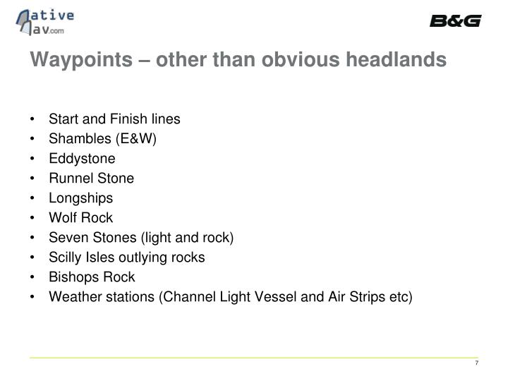 Waypoints – other than obvious headlands