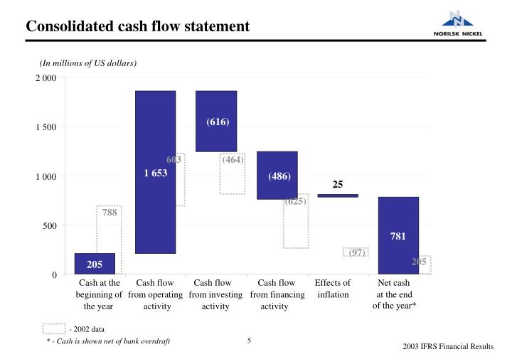 Consolidated cash flow statement