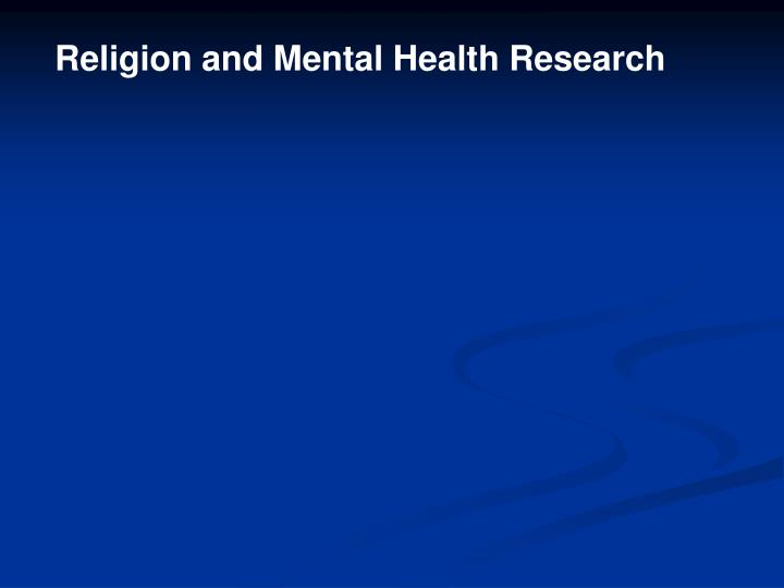 Religion and Mental Health Research