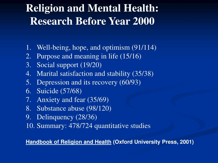 Religion and Mental Health: