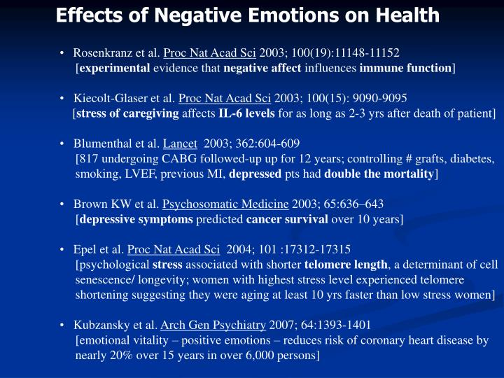 Effects of Negative Emotions on Health