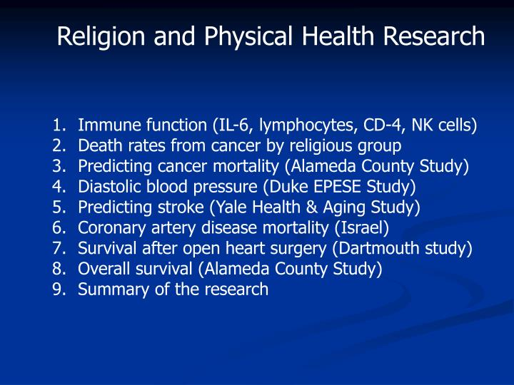 Religion and Physical Health Research