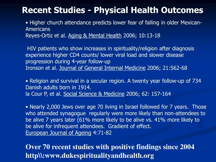 Recent Studies - Physical Health Outcomes