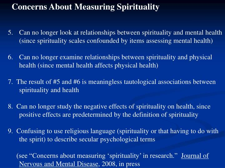 Concerns About Measuring Spirituality