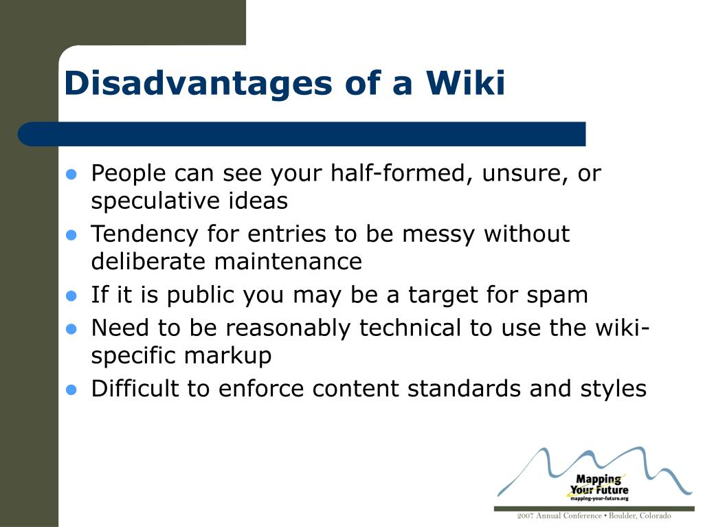 Disadvantages of a Wiki