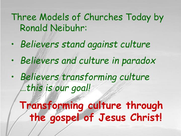 Three Models of Churches Today by Ronald Neibuhr: