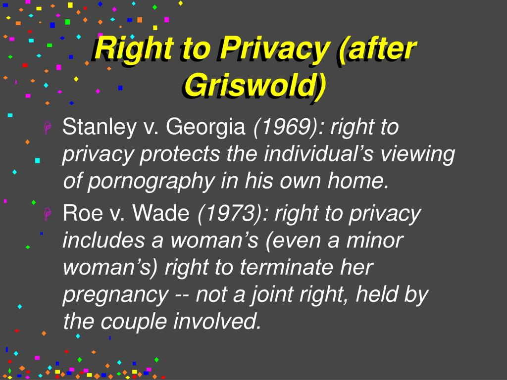 Right to Privacy (after Griswold)