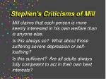 stephen s criticisms of mill