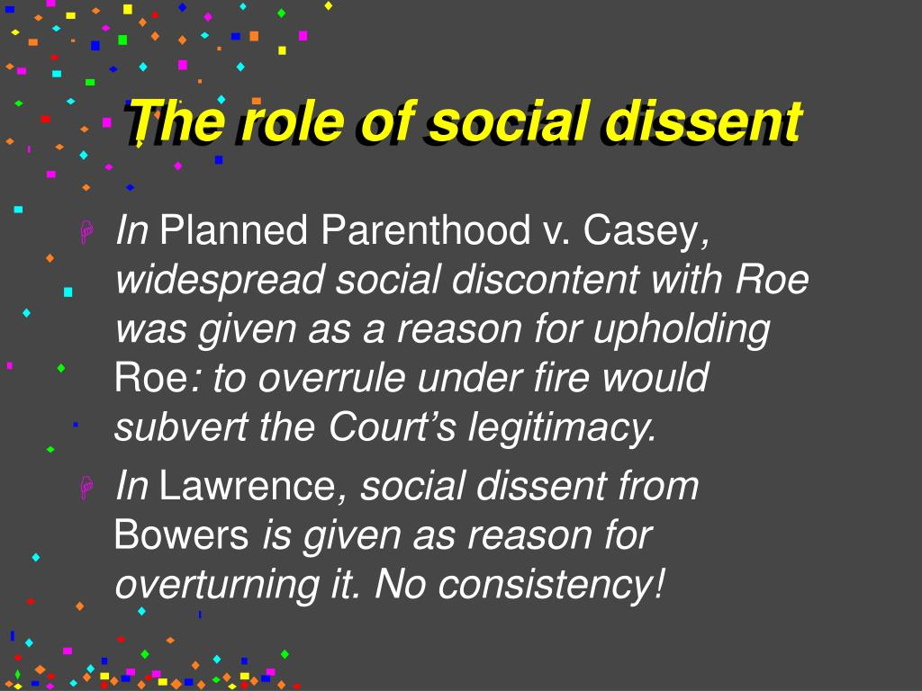 The role of social dissent
