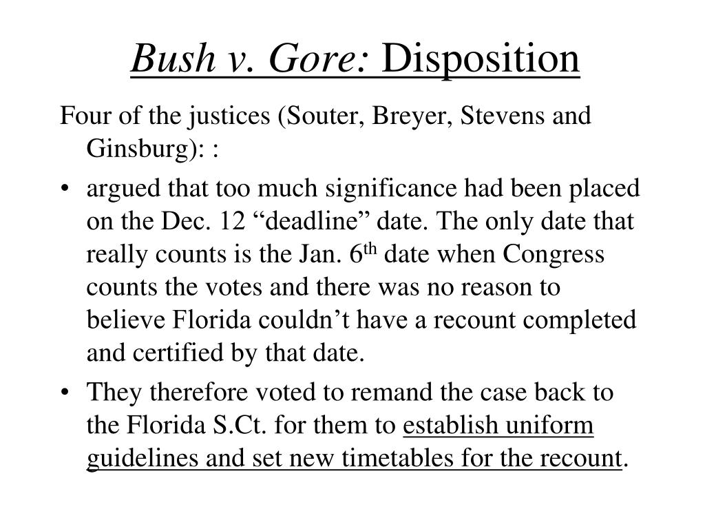 bush vs gore why the votes Florida recounts would have favored bush  bush still ended up with more votes than gore, according to the study bush also would have had more votes if.