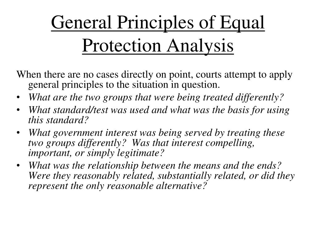 General Principles of Equal Protection Analysis