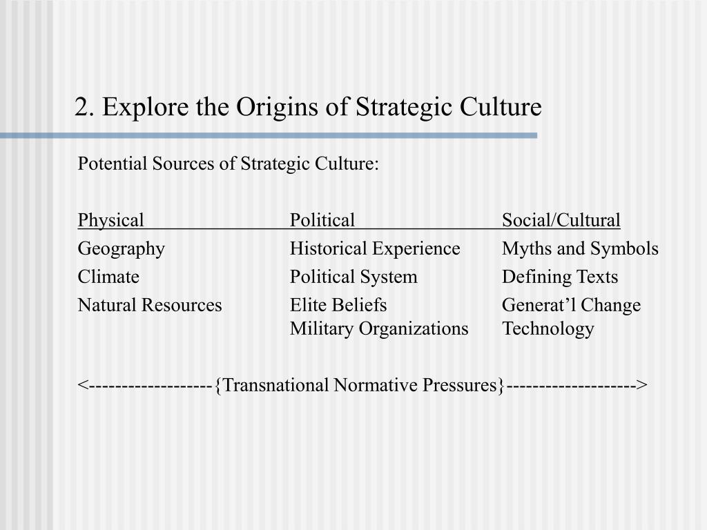 2. Explore the Origins of Strategic Culture