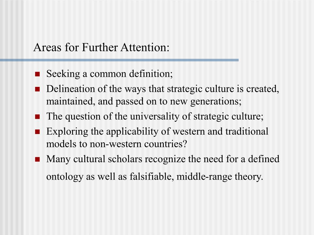 Areas for Further Attention: