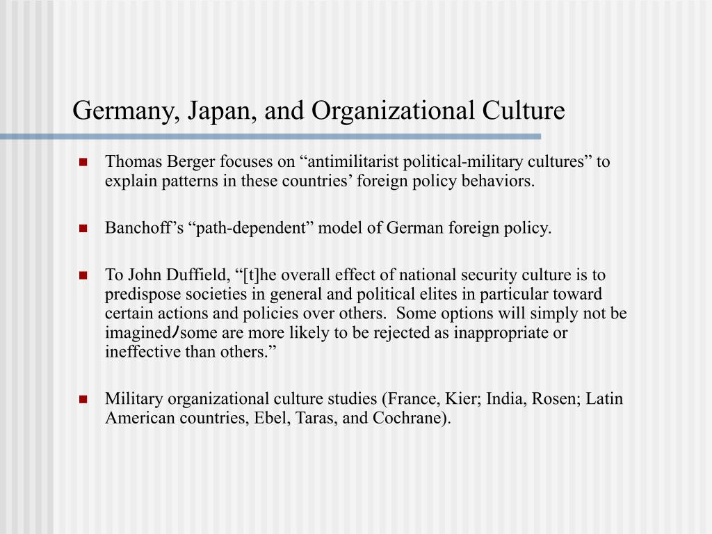 Germany, Japan, and Organizational Culture