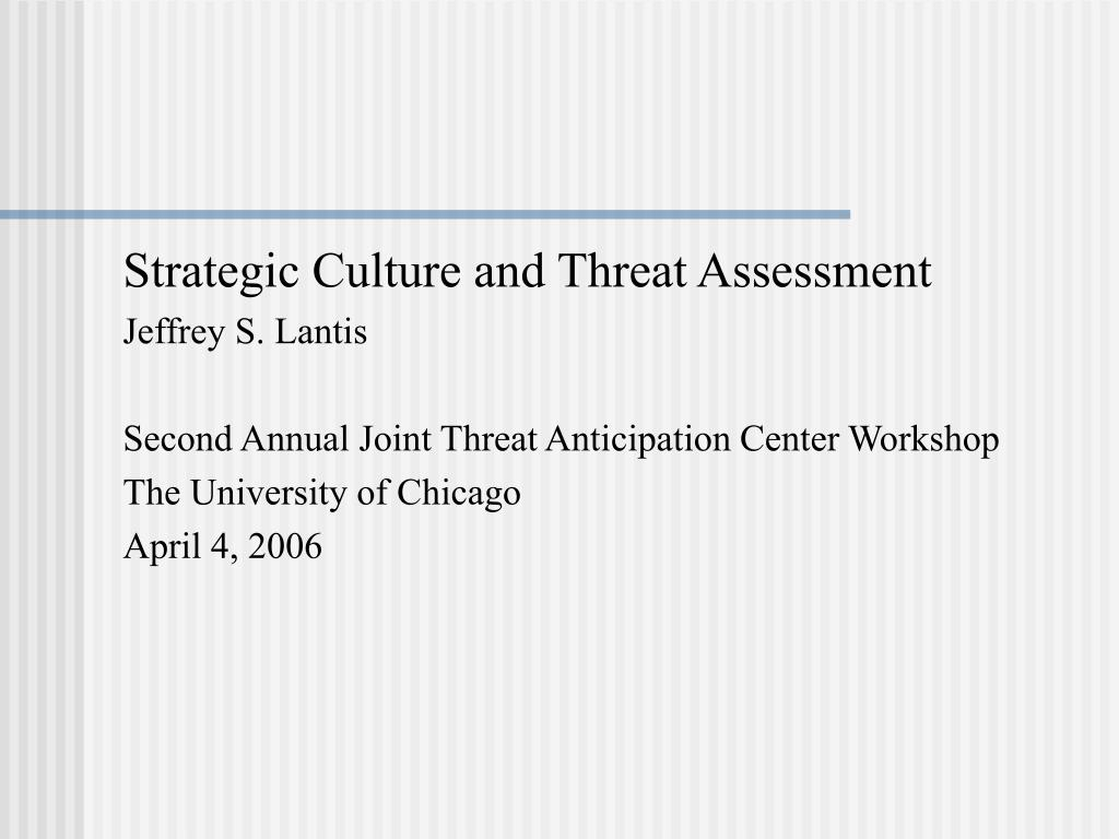 Strategic Culture and Threat Assessment