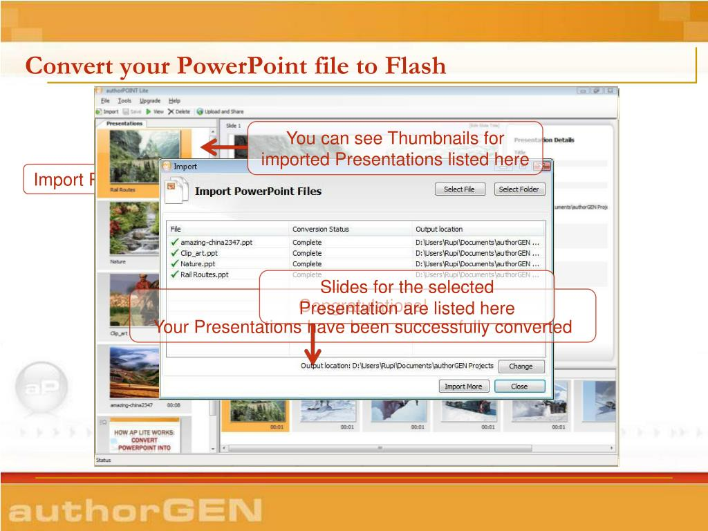 Convert your PowerPoint file to Flash