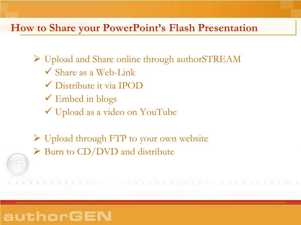 How to Share your PowerPoint's Flash Presentation