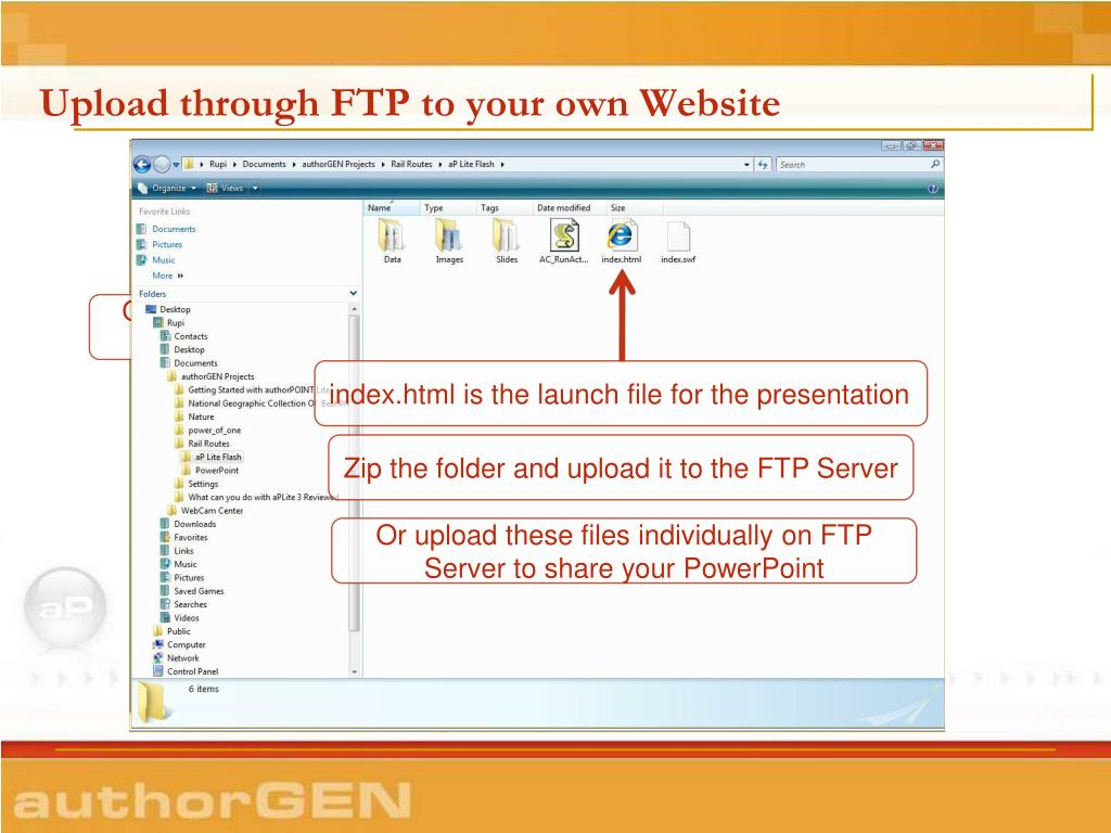 Upload through FTP to your own Website