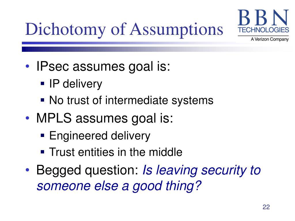 Dichotomy of Assumptions