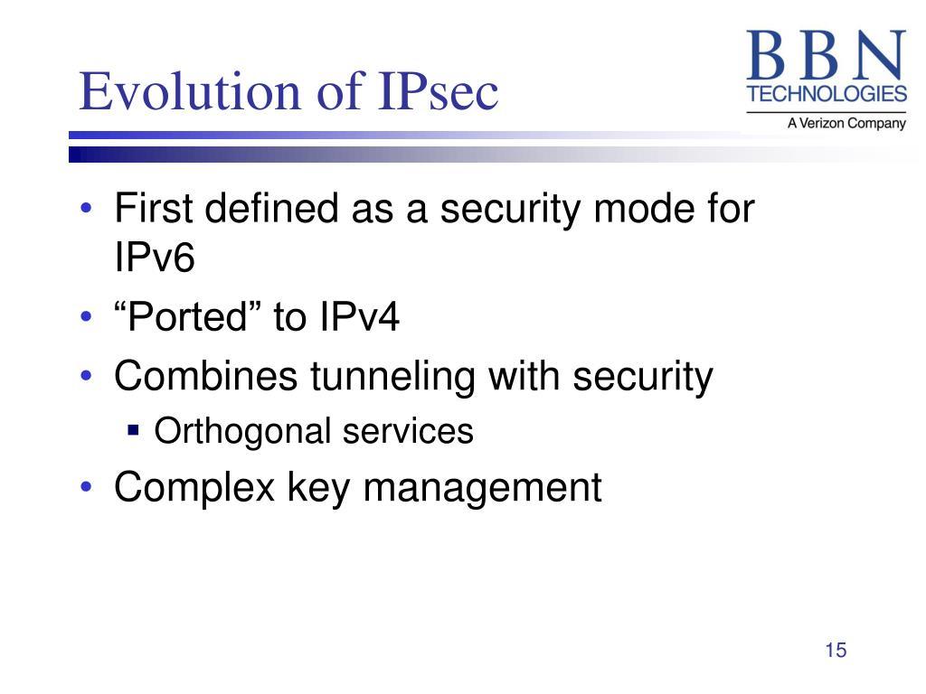 Evolution of IPsec