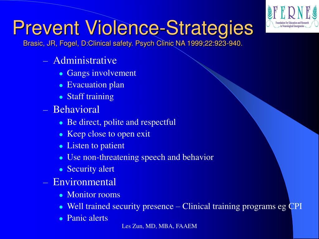 Prevent Violence-Strategies