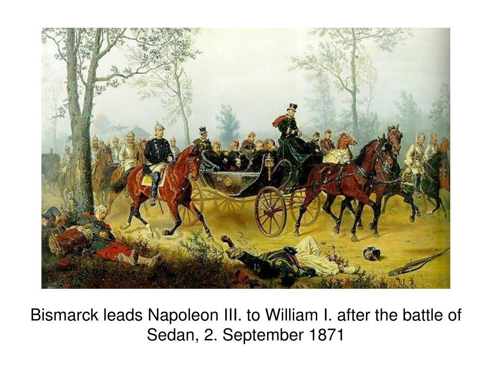 Bismarck leads Napoleon III. to William I. after the battle of Sedan, 2. September 1871