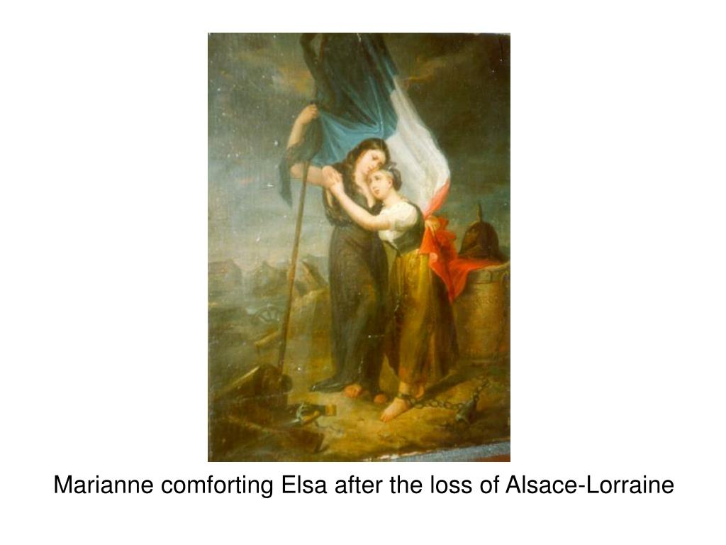 Marianne comforting Elsa after the loss of Alsace-Lorraine