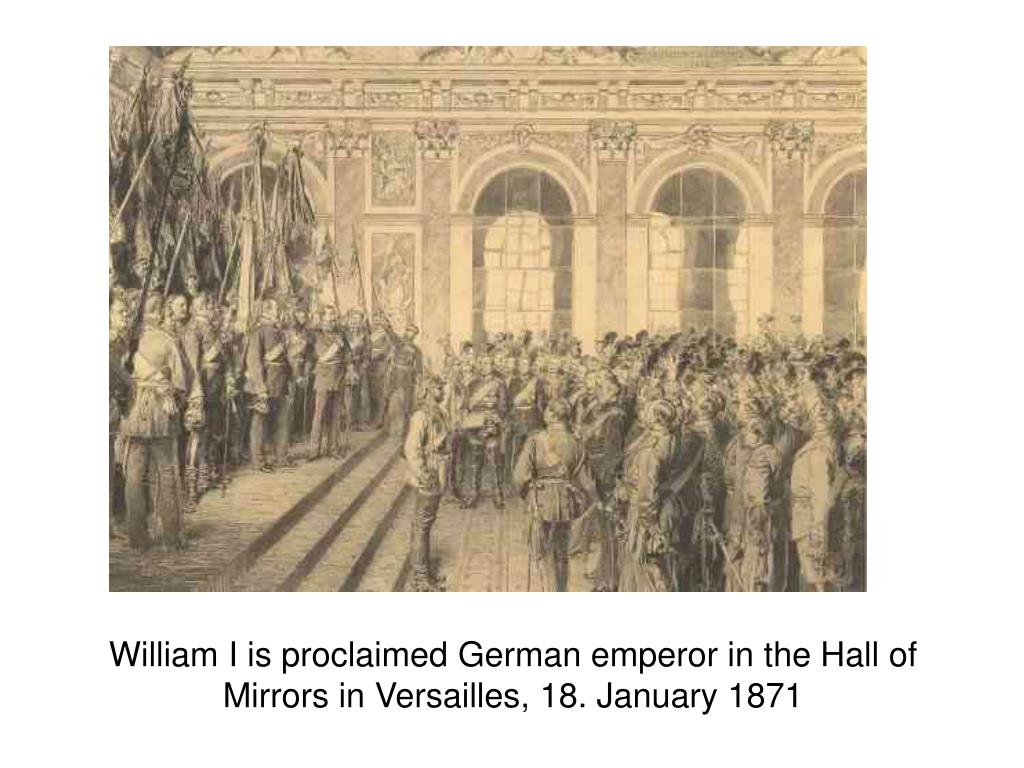 William I is proclaimed German emperor in the Hall of Mirrors in Versailles, 18. January 1871