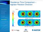 residence time comparison agitator rotation direction