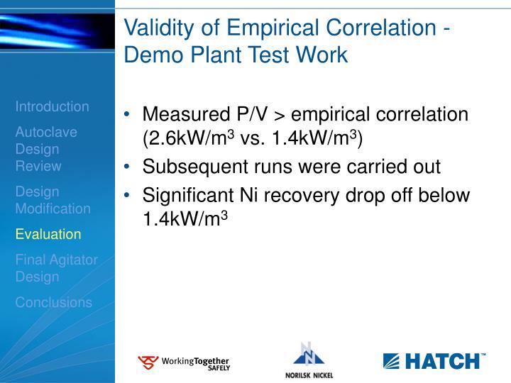 Validity of Empirical Correlation -Demo Plant Test Work