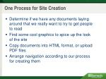 one process for site creation