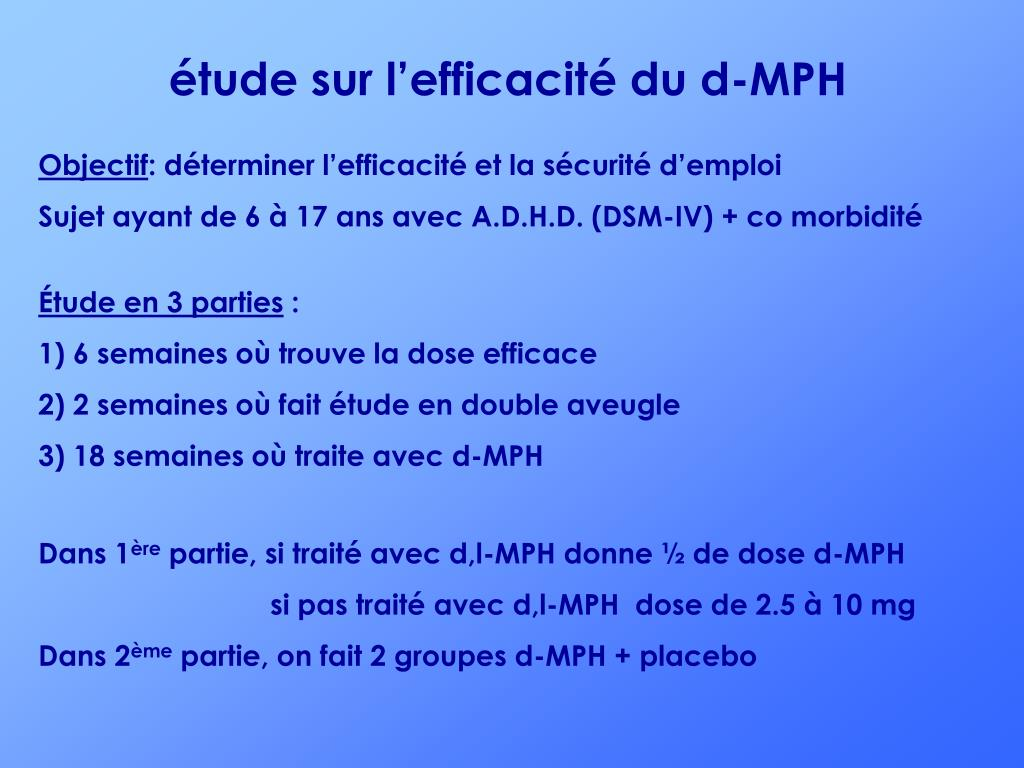 étude sur l'efficacité du d-MPH