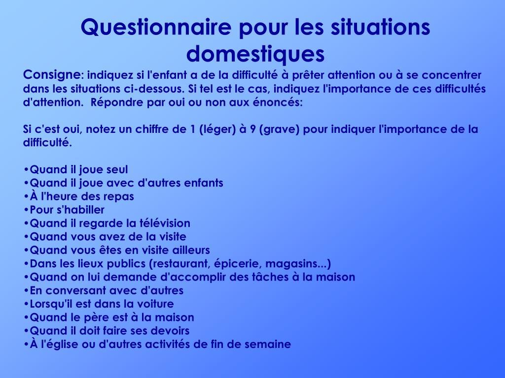 Questionnaire pour les situations domestiques