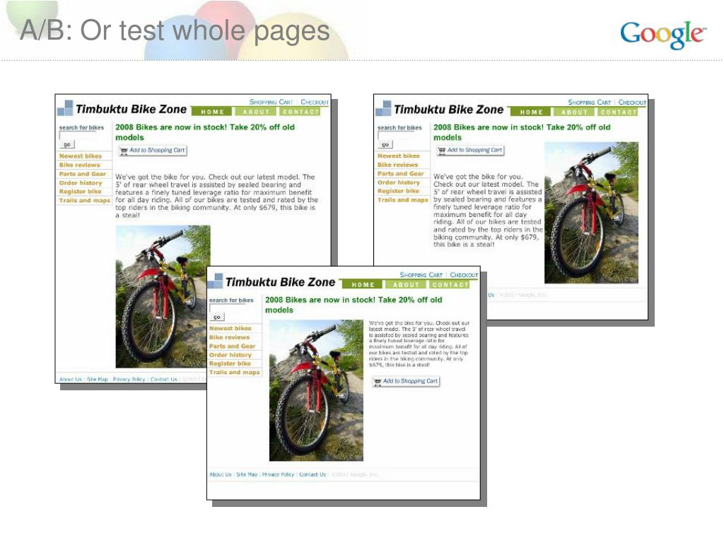 A/B: Or test whole pages