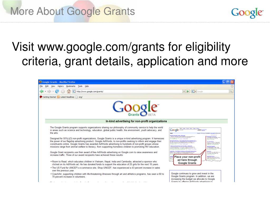 More About Google Grants