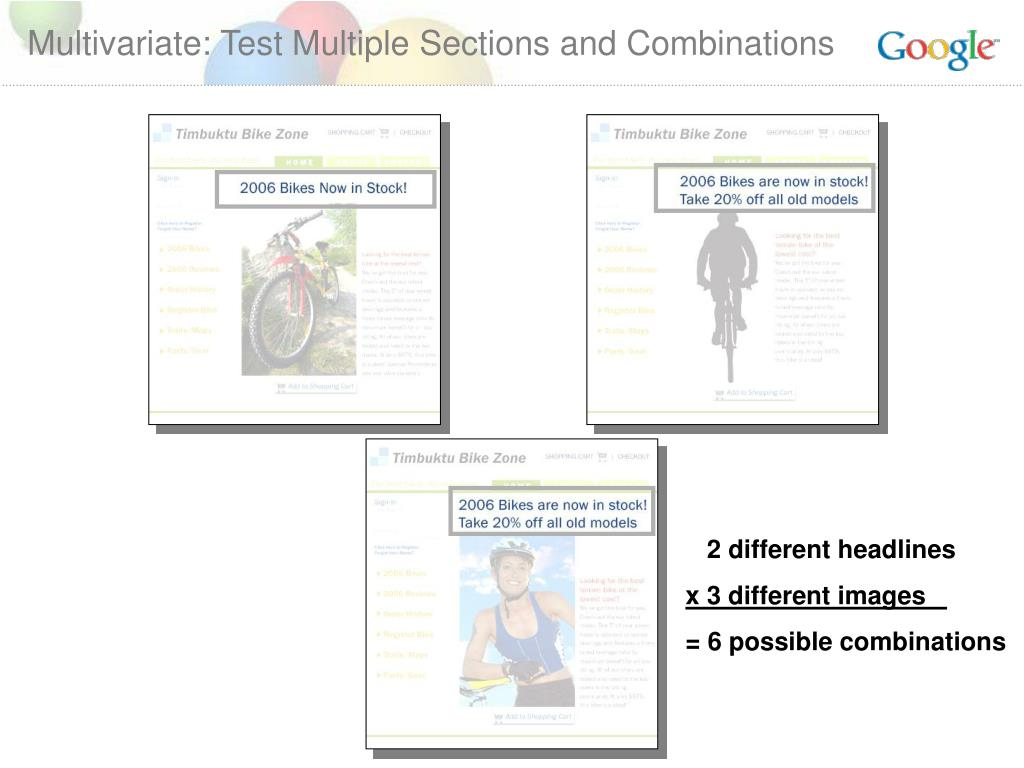 Multivariate: Test Multiple Sections and Combinations