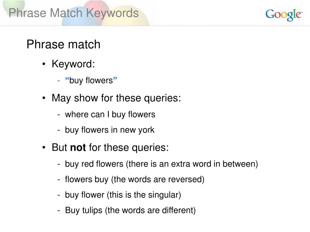 Phrase Match Keywords