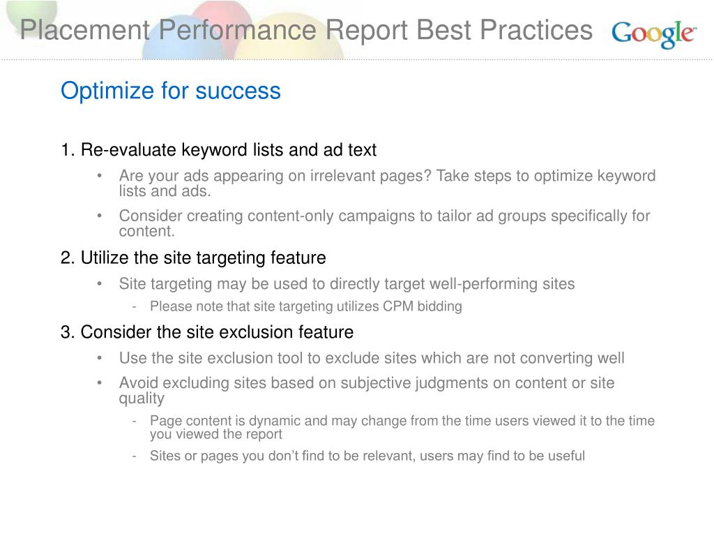 Placement Performance Report Best Practices