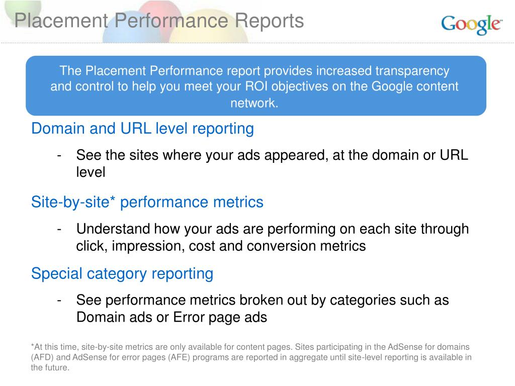 Placement Performance Reports