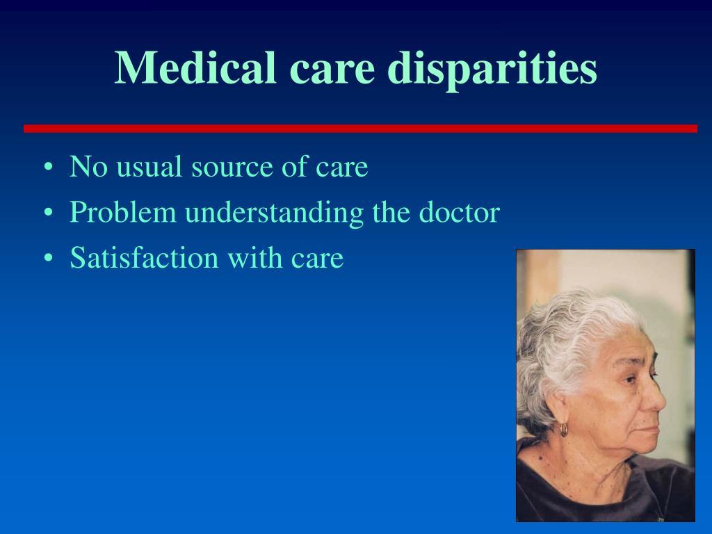 Medical care disparities