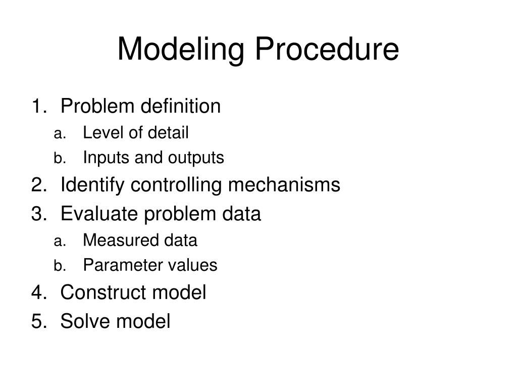 Modeling Procedure