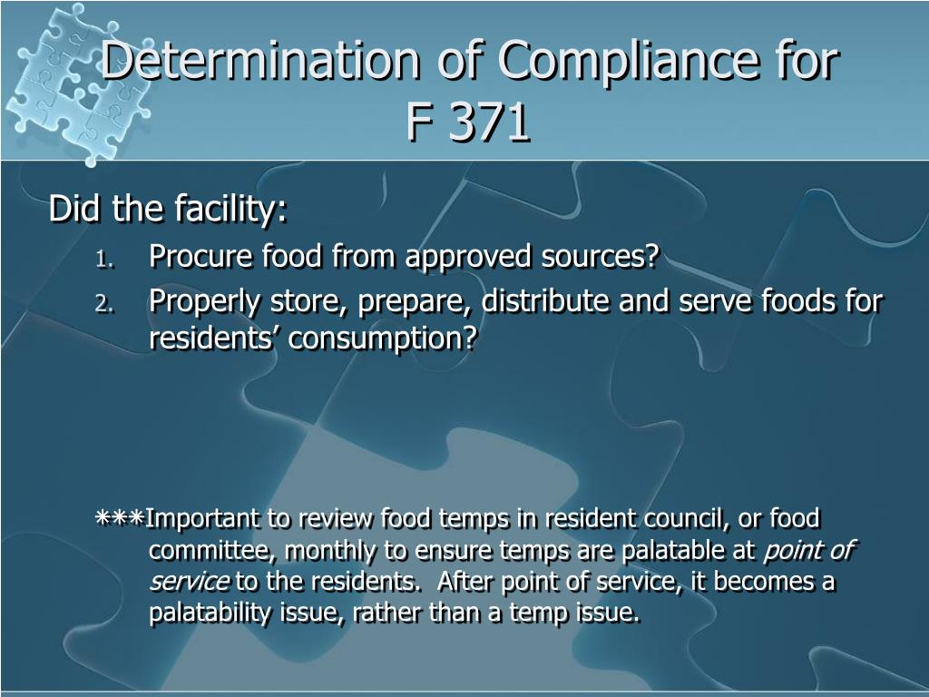 Determination of Compliance for F 371