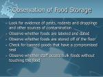 observation of food storage