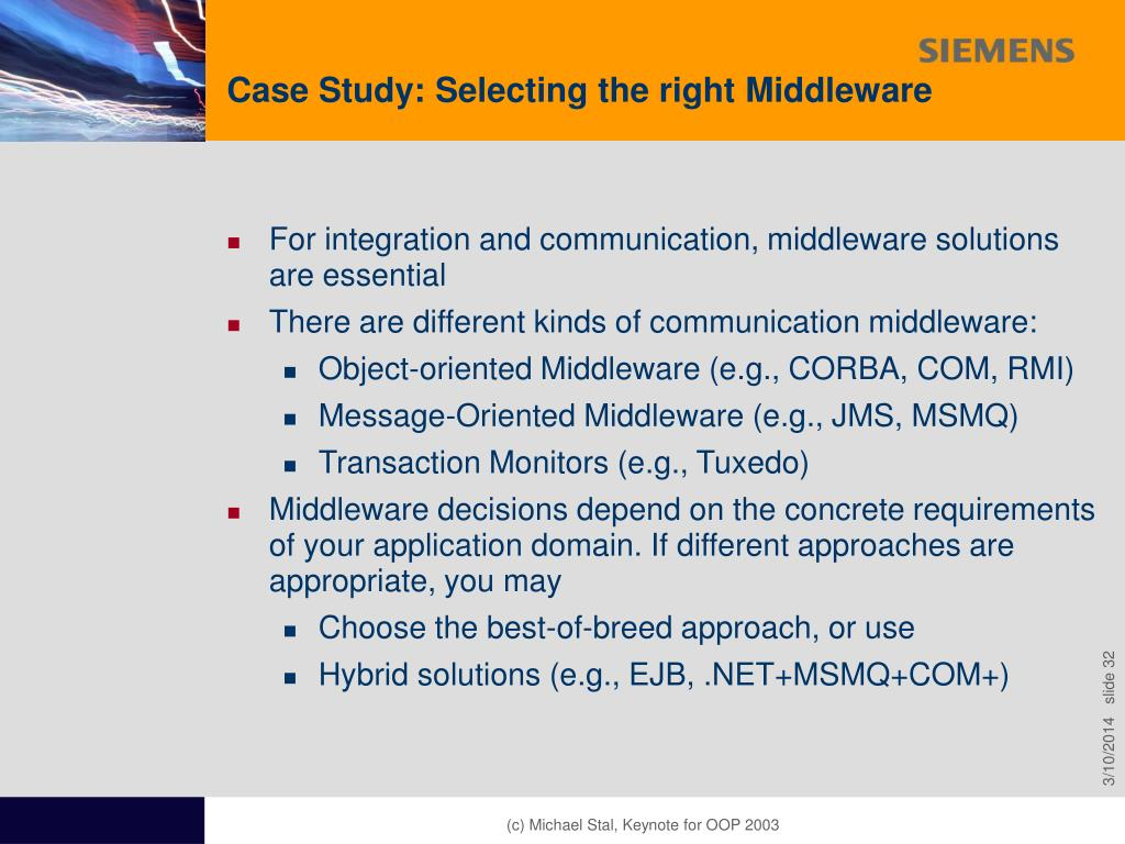 Case Study: Selecting the right Middleware