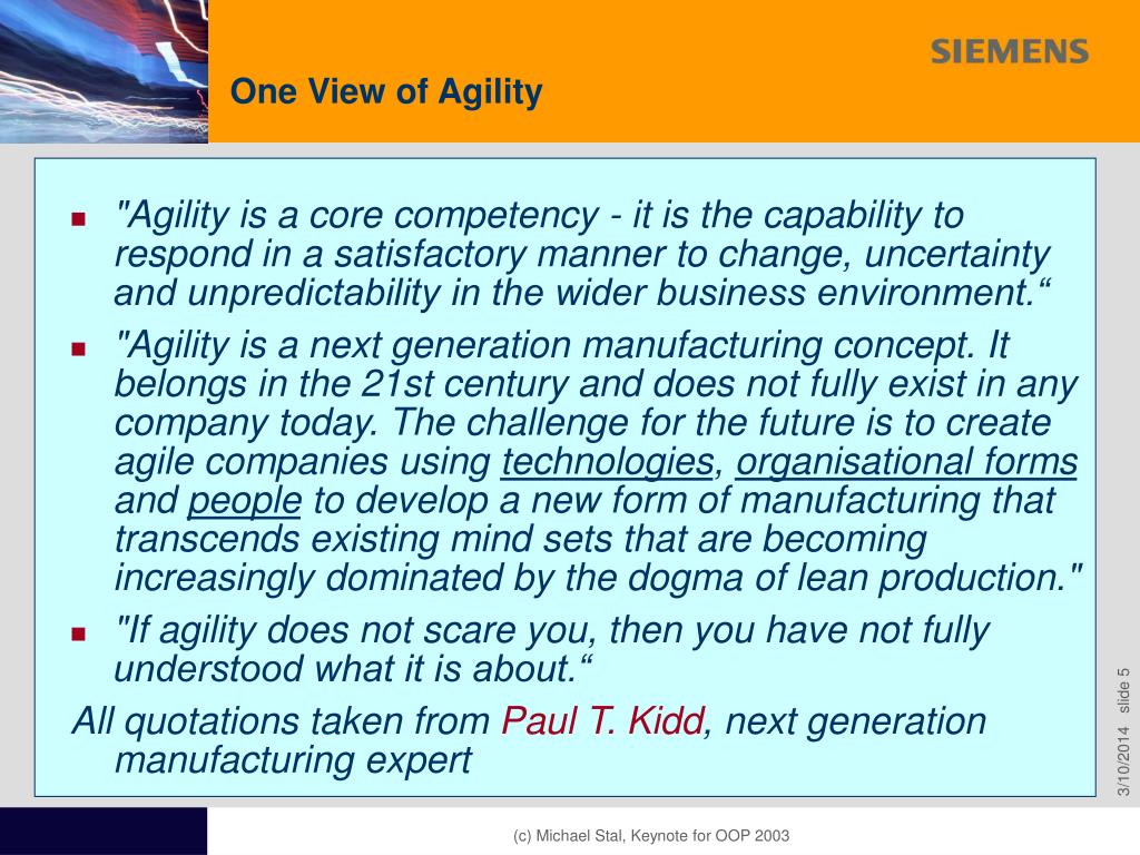 One View of Agility