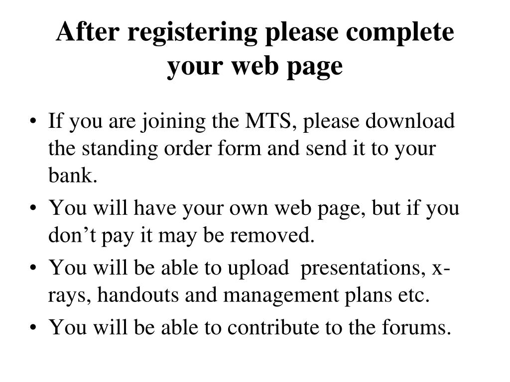 After registering please complete your web page