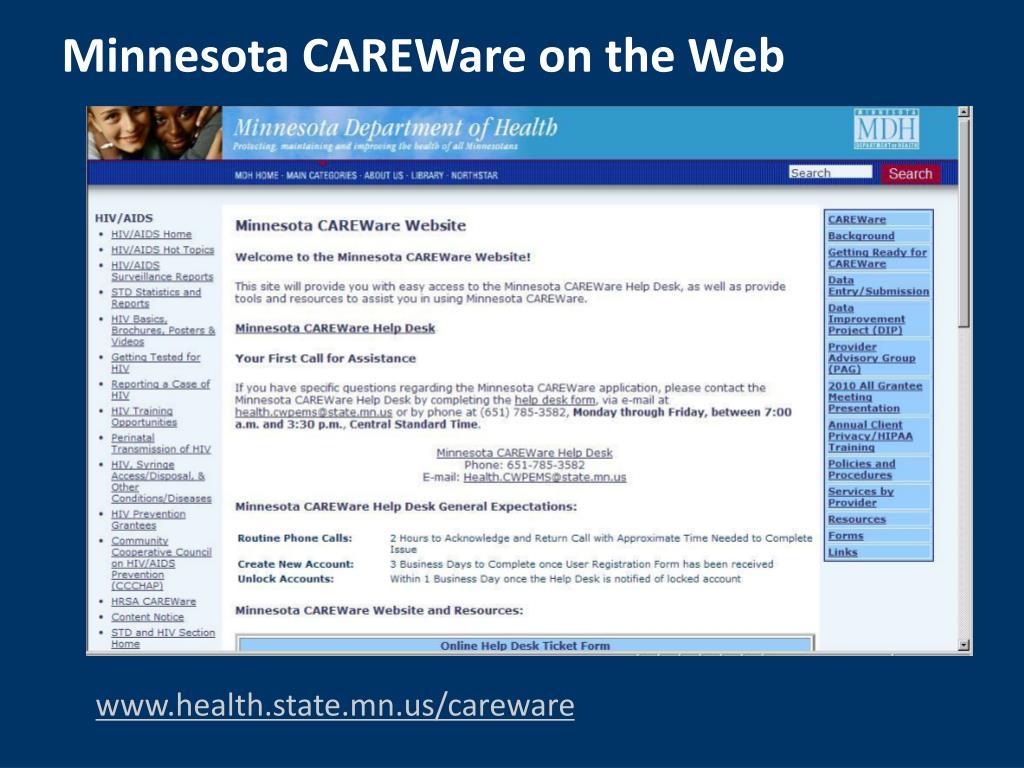 Minnesota CAREWare on the Web