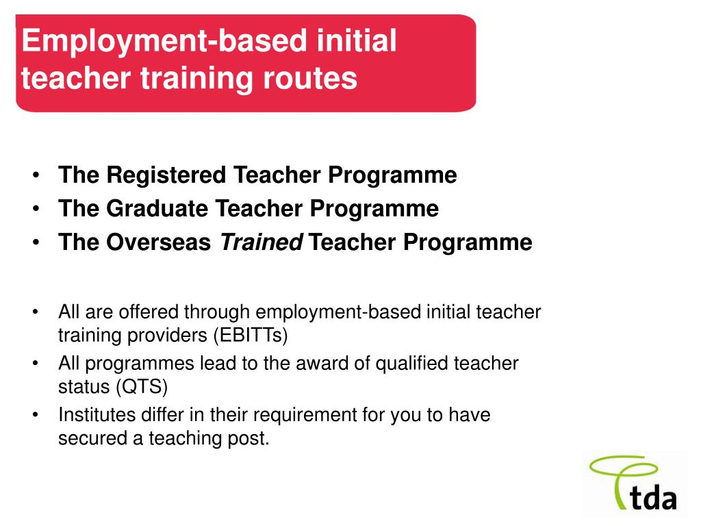 Employment-based initial teacher training routes