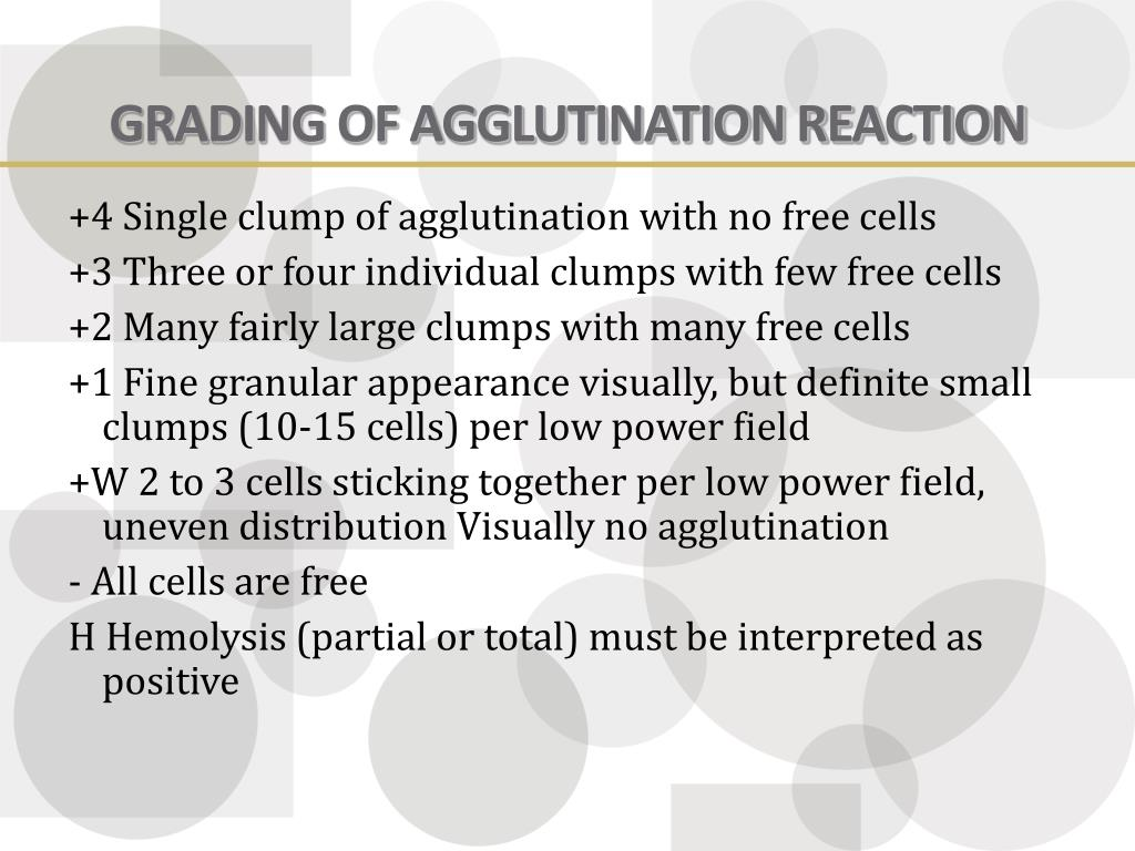 GRADING OF AGGLUTINATION REACTION